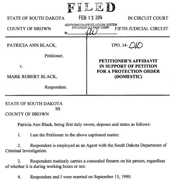 Patricia Ann Black, petition for temporary protection order, TPO #14-010, 2014.02.13, clip from page 1