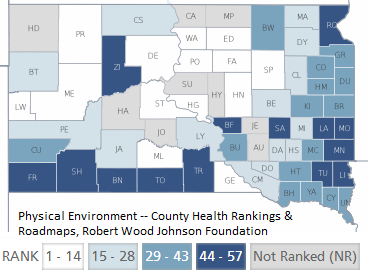 Healthy Physical Environment by county SD