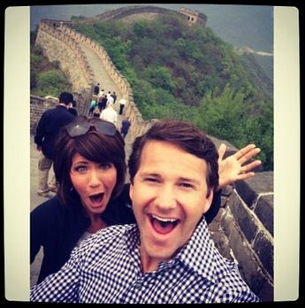 Rep. Kristi Noem (R-SD) and Rep. Aaron Schock (R-IL) enjoying a taxpayer-funded trip to the Great Wall of China, April 2014.
