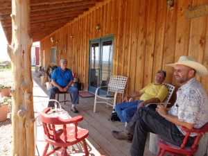 Powertech on the porch: (L-R) CEO Dick Clement, lobbyist Larry Mann, project manager Mark Hollenbeck, at Hollenbeck's ranch north of Edgemont, SD, 2014.08.17