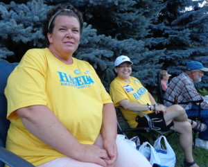 Rochelle Hagel (left), Democratic candidate for District 33 House, and Pam Stillman-Rokusek, campaign volunteer, at Rickstock, Piedmont, South Dakota, 2014.08.16