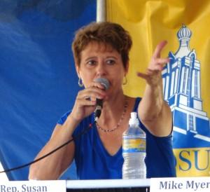 Susan Wismer, Democratic candidate for governor, Dakotafest debate, Mitchell, South Dakota, 2014.08.20