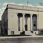 Old postcard showing Masonic Temple before widening of Highway 34.