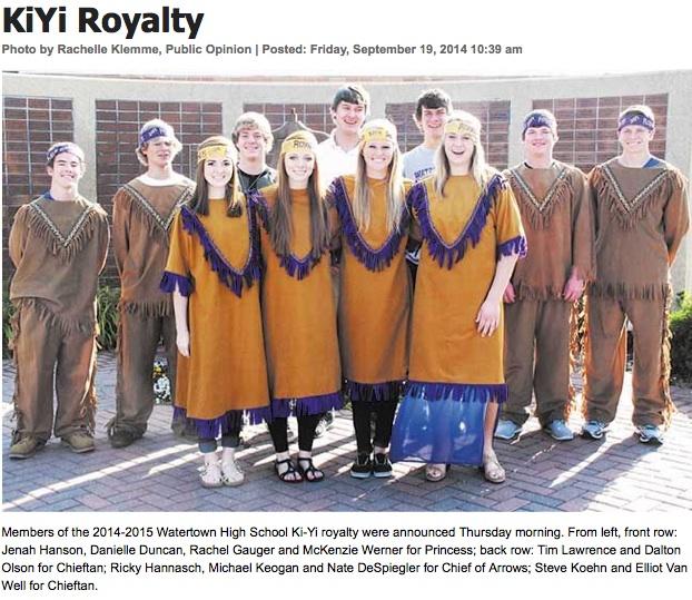 "Photo of Watertown HS homecoming (known locally as ""Ki-Yi"") royalty, Watertown Public Opinion, 2014.09.19, screen cap 2014.09.23"