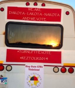 Rez Tour 2014 Get-Out-the-Vote bus, headed for Pine Ridge Thursday!
