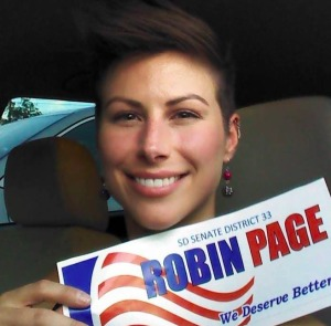 """""""We deserve better,"""" says this Robin Page supporter. Photo from Page for 33 Facebook page."""