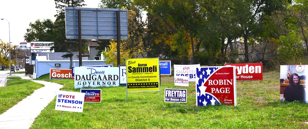 Campaign signs, one block west of Pennington County GOP HQ, West Main St., Rapid City, SD, 2014.10.22.