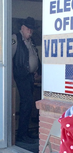 Sheriff Jim Daggett, greeting Indian voters at Shannon County's early voting station, October 2014.
