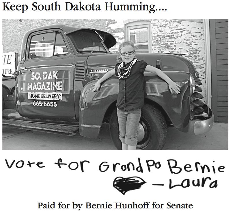 Bernie Hunhoff for Senate ad, from Facebook, 2014.10.31