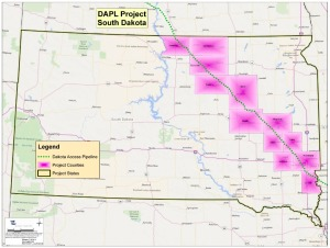 Map of proposed Dakota Access pipeline route through South Dakota; see full route map at http://www.energytransfer.com/documents/DAPL_States_Counties.pdf