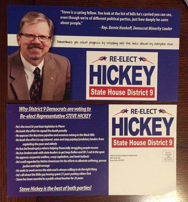 Rep. Steve Hickey (R-9/Sioux Falls) mailing to Democrats, October 2014.