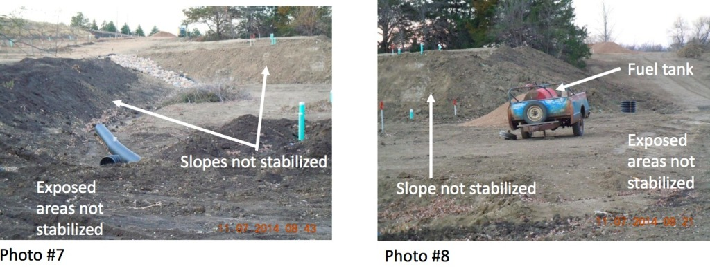 Photos 7 & 8, taken by Jill Riedel, DENR engineer, inspection of Timmer campground site, Lake Herman, South Dakota, 2014.11.07, included in warning letter from DENR to Terry Timmer, 2014.11.14