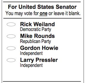 Clip from South Dakota general election sample ballot, 2014