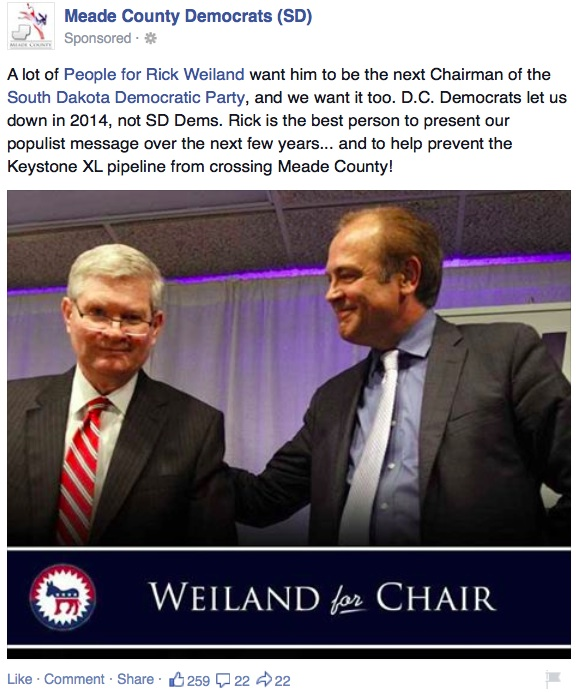 Meade County Democrats, sponsored Facebook post promoting Rick Weiland for SDDP chair, screen cap 2014.11.24