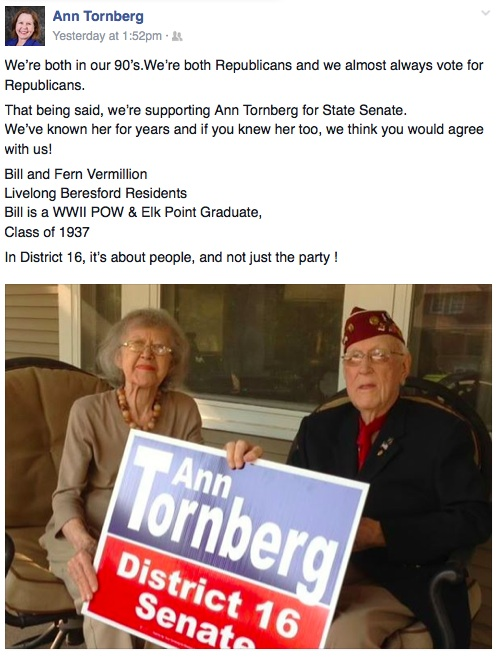 Bill and Fern Vermillion, registered Republicans, endorse Democrat Ann Tornberg for District 16 Senate. From Facebook, 2014.11.02.