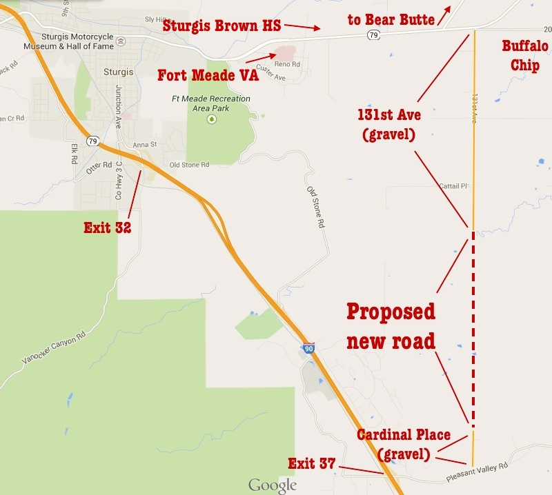 Proposed East Sturgis Bypass (annotations mine; map from Google; click to embiggen!)