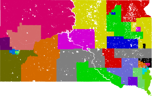 South Dakota Legislative Districts, in effect for elections from 2012 to 2020.