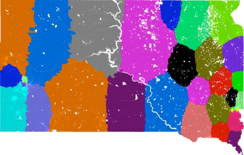 Possible equipopulational, optimally compact legislative districts, mapped by Brian Olson, BDistricting.com.