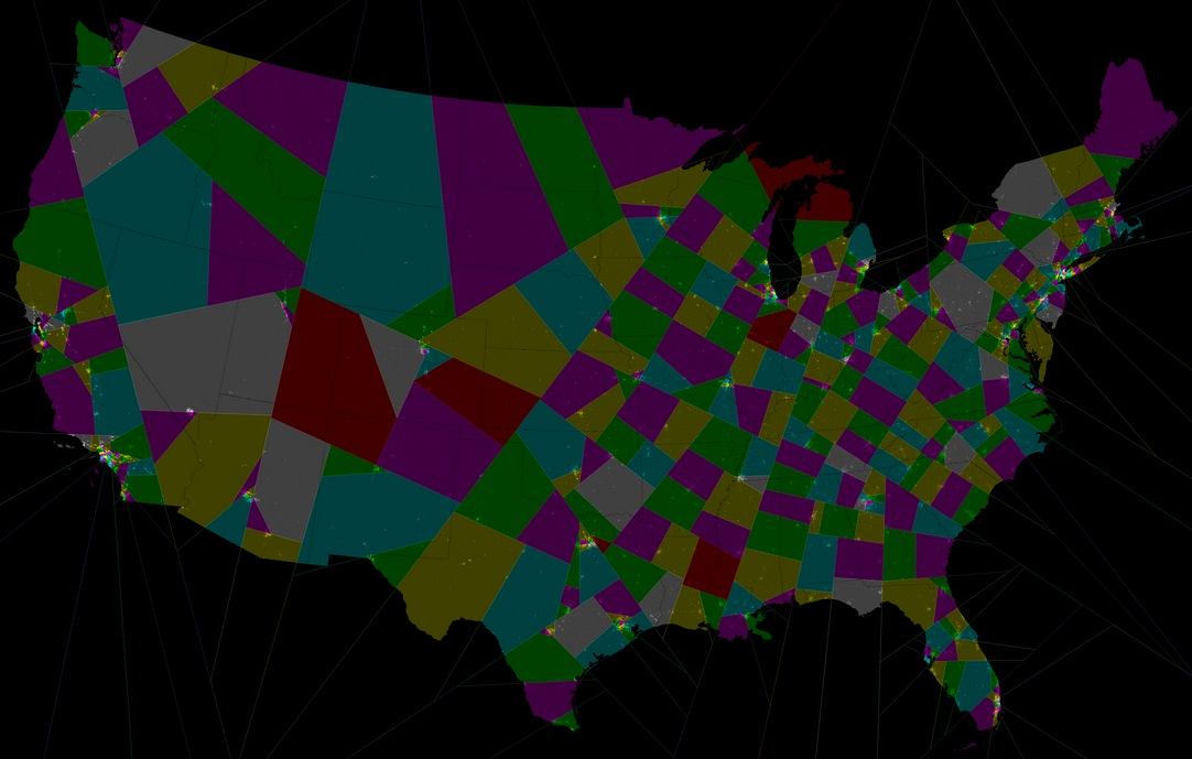 Split-line Congressional districts, produced by Warren Smith and Jan Kok, RangeVoting.org.