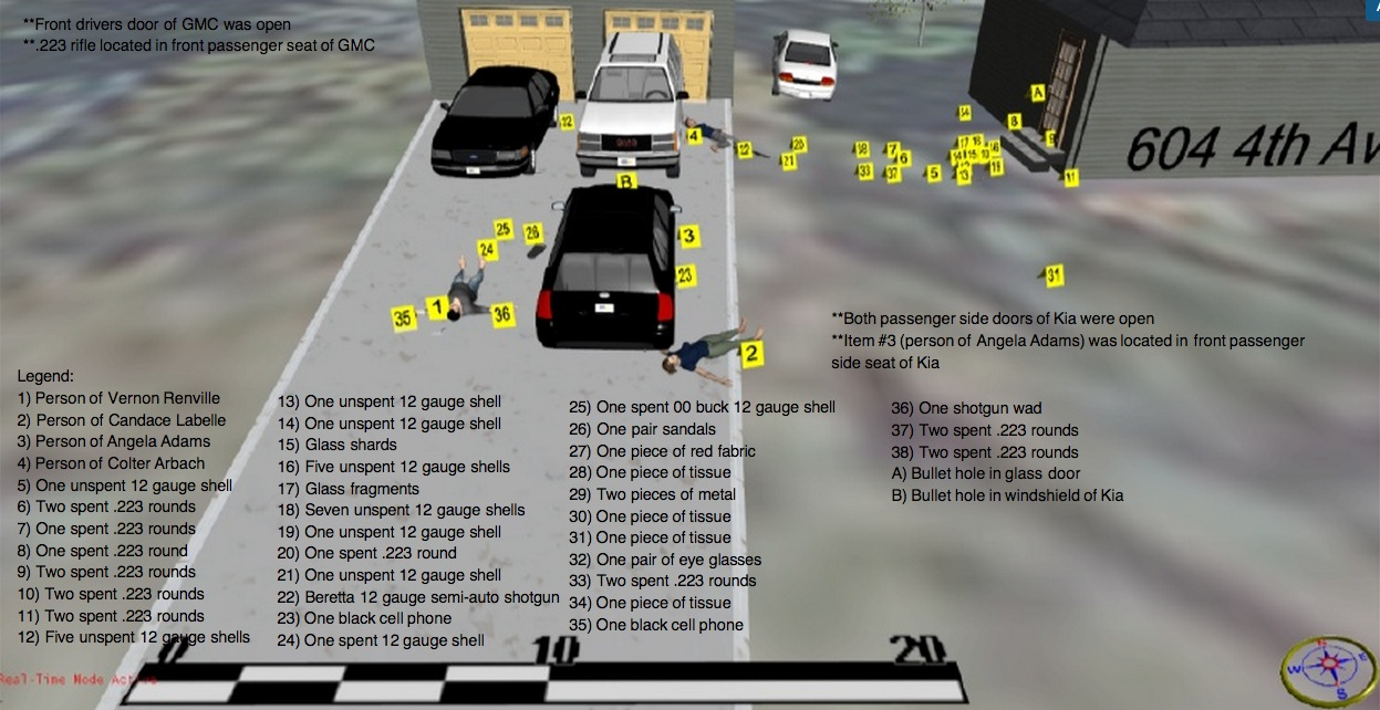 Arbach shooting crime scene diagram, prepared by Special Agent Jeff Kollars, SD Department of Criminal Investigation, 2014.11.22 (click to enlarge).