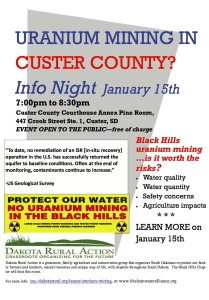 Custer County uranium mining informational event, hosted by Dakota Rural Action, January 15, 2015