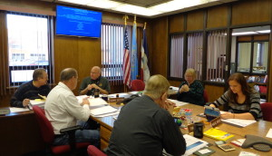 Brown County Commission, prior to meeting, Aberdeen, SD, 2015.02.17